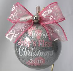Baby's First Christmas Ornament personalized New baby ornament Glass or (Acrylic hard plastic that will not break) made with Vinyl decal - DIY and crafts - Baby's First Ornament, Baby First Christmas Ornament, Babies First Christmas, Felt Christmas, Homemade Christmas, Vinyl Christmas Ornaments, Baby Ornaments, Christmas Bulbs, Glitter Ornaments