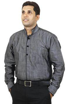 http://tinyurl.com/jj9v2g5 Buy Online Branded SENSATION Gray Linen Party Wear Shirts For Men Lowest Prices only on GetAbhi.com