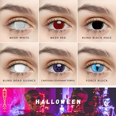 Halloween Contacts, Halloween Makeup Looks, Creepy Halloween, Natural Color Contacts, Best Colored Contacts, Cosplay Contacts, Spooky Eyes, Halloween Series, Color Lenses