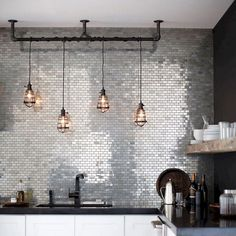 73 Stunning Kitchen Industry Decorating Ideas That Will Make You Interested To Own Modern Industrial Decor, Industrial Kitchen Design, Industrial Living, Industrial Interiors, Outdoor Pendant Lighting, Industrial Pendant Lights, Pendant Light Fixtures, Cool Lighting, Lighting Ideas