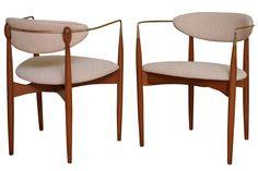 Ib Kofod-Larsen 1956 armchairs.  Mine have orange vinyl upholstery!  Soon to be for sale at Sleepy Poet Mall in Charlotte, NC