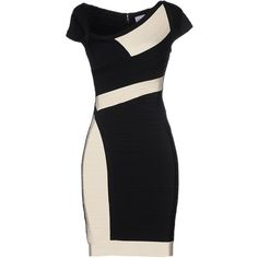 Hervé Léger By Max Azria Short Dress (3.401.905 COP) ❤ liked on Polyvore featuring dresses, vestidos, black, black zipper dress, mini dress, short tube dress, short sleeve dress and black mini dress