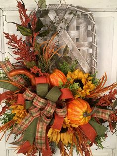 Your place to buy and sell all things handmade Fall Swags, Fall Wreaths, Rustic Fall Decor, Fall Home Decor, Pumpkin Arrangements, Flower Arrangements, Tobacco Basket Decor, Autumn Decorating, Door Decorating
