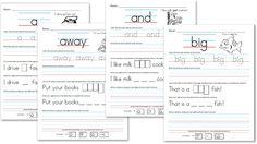 Free Kindergarten Worksheets: Sight Word Sentences (Pre-Primer)