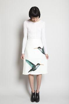 JIL SANDER  Lapis Hummingbird Skirt