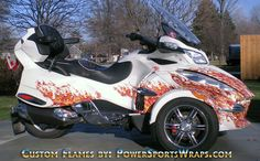 Custom Can-Am Spyder | can am spyder RT vinyl wrap, real flames produced on transparent film ...