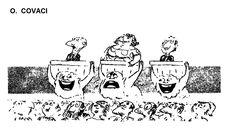 Caricatura de O. COVACI, publicata in almanahul PERPETUUM COMIC '97 editat de URZICA, revista de satira si umor din Romania