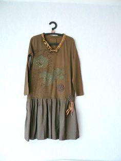Robe T-Shirt Recyclé Couleur Kaki et Bronze,Femme Taille 44 : Robe par mon-armoire-jolie