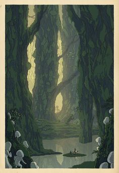 """(Ashitaka lays eyes on the Forest Spirit for the first time while tending to one of Lady Eboshi's injured workers.) """"The stars of Hayao Miyazaki's films recede into the background in a series of prints inspired by Japanese woodblock artist Kawase Hasui. Instead of standing front and center, familiar faces like Lupin, Totoro and Kiki become distant figures, dwarfed by beautiful landscapes illustrated by artist Bill Mudron has in Hasui's distinctive style."""""""