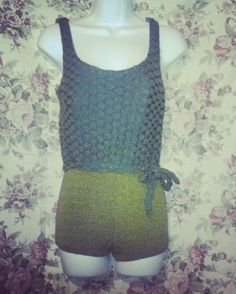 vintage green and blue bathing suit with self sash.