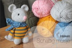 Crochet: Cute baby mouse (Free crochet pattern) - Nobody ELSe - Haken: Schattige baby muis (Gratis haakpatroon) – Nobody ELSe Today I tell about a cute crochet - Crochet Cross, Cute Crochet, Crochet Baby, Crochet Sunflower, Crochet Flowers, Beginner Crochet Projects, Crochet Mouse, Bobble Stitch, Moss Stitch