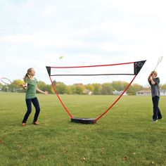 The Instant Badminton Court - This is the freestanding badminton set that instantly creates a court on a lawn, driveway, beach, or any flat surface. Requiring no tools for setup, the PVC net support extends from its carrying case/base and the nylon net simply slips on to create a regulation-height 11 1/2' wide court. - Hammacher Schlemmer