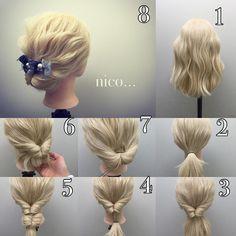 簡単アレンジ 髪の長さはミディアム くるりんぱだけです^ ^ 1 ミディアムの長さです 2 ポニーテール 3 くるりんぱ 4 テールの毛先をまたゴムで結ぶ 5 くるりんぱをまたします 6 くるりんぱを下から中に入れます 7 ピンやUピンで、固定します 8 バレッタなどで完成 #ハーフアップ #ヘアアレンジ #ヘアアレンジnico #スタッフ募集 #ヘアセット #ウエディング