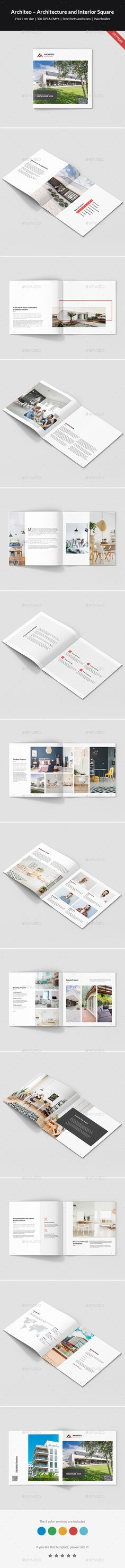 Architeo – Architecture and Interior Square Brochure Template InDesign INDD