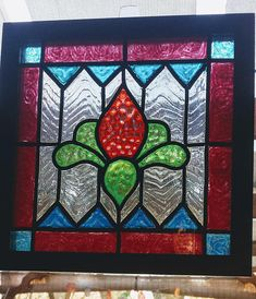 Items similar to Square Glass-Window Panel-Window Art-Suncatcher-Vintage-Bright Colors-Traditional Design-House Gift on Etsy Faux Stained Glass, Stained Glass Panels, Stained Glass Projects, Stained Glass Patterns, Painting On Glass Windows, Glass Artwork, Mosaic Windows, Glass Shelves Ikea, Window Art