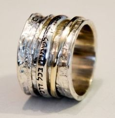 Spinner rings Personalized Ring. Hebrew Blessing.  Bluenoemi Israeli silver jewelry store