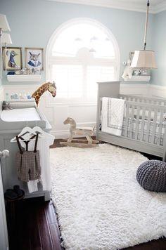 soft blue and gray paint idea for boy's nursery room