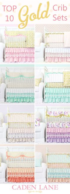 Click through to see the top 10 and more gold crib bedding sets from Caden Lane! Loving this classic metallic for the nursery! <3