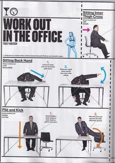 Bloomberg Business Week: Work Out in the Office- Do you think I can do this during my IEP meetings? Office Exercise, Workout At Work, Workout Guide, Office Workouts, Exercise Plans, Tracy Anderson Workout, Tracy Anderson Method, Working Out Area, Lean Arms