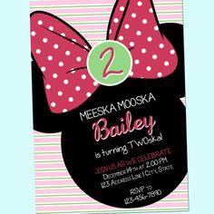 Minnie Mouse, Simple Pink Stripe Birthday Invitation - Meeska Mooska, Twoska - MMCH - Printable - 5x7 by GoodHueDesigns