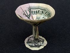 Dollar Bill MARTINI GLASS Origami - Made with $50 bill