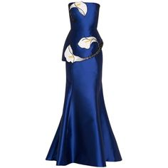 Andrew Gn Embroidered Lily Gown ($4,369) ❤ liked on Polyvore featuring dresses, gowns, blue cocktail dress, blue gown, embroidered dress, blue evening gown and blue dress