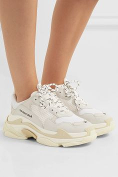 ad8268d5 Balenciaga - Triple S logo-embroidered leather, nubuck and mesh sneakers