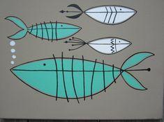 mid century modern fish aqua white and tan via Etsy