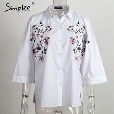 88244066accc6 Simplee Embroidery white blouse shirt women tops Flare sleeve shirt  feminine blouses summer 2017 chemise femme blusas