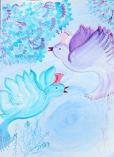 print of a watercolor  love birds by SandrineKespi on Etsy, $75.00