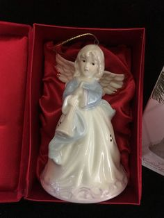FORMALITIES by BAUM BROS Blue and White Hope Angel Ornament Porcelain Bell with Bugle and Gold Trim in Original Red Velvet Box by Anaforia on Etsy