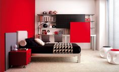 Modern Red And White Teenage Bedroom With Unique Chairs And Cream Rug And Red Nightstand By Tumidei