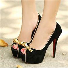 Graceful Golden Line Bowknots Women's High-heeled Prom Shoes
