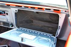 The glove compartment door that opened flat and had 2 indented circles where you could put your drink