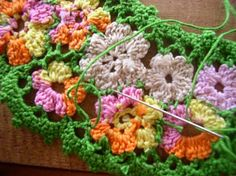 crochet joining and needle joining motifs--tutorial