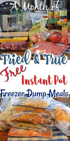 A Full Month of Easy Instant Pot Freezer Dump Meals A Full month of easy instant pot freezer meals pot recipes Chicken Freezer Meals, Crock Pot Freezer, Healthy Freezer Meals, Beef Meals, Freezer Recipes, Crock Pot Dump Meals, Freezer To Crockpot Meals, Soup Recipes, Freezer Dinner