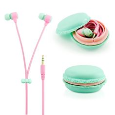 GEARONIC TM Stereo 3.5mm In Ear Earphones Earbuds Headset with Macaron Case For iPhone Samsung MP3 iPod PC Music - Blue