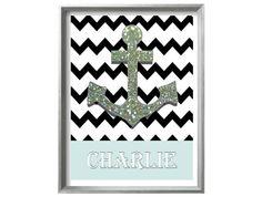 Personalize Modern Nautical Print  Mint Green by NauticalDecorShop, $12.00
