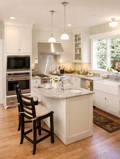 small island with stools custom islands 11 - Kitchen Island Ideas For Small Kitchens
