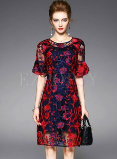 25c10966bef3f Sexy Embroidered O-neck Flare Sleeve Slim Skater Dress