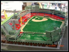 Fenway Park made out of Legos.   Lego baseball ballpark.