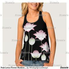 Pink Lotus Flower Modern Vintage Black