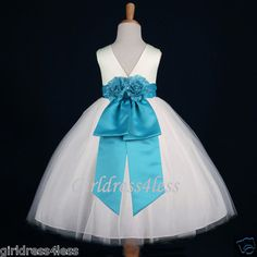 IVORY/TURQUOISE WEDDING DANCE GOWN FLOWER GIRL DRESS 12M-18M 2 3/4 6/6X 8 10 12