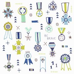 Be brave - medal, ribbon, badge, pin children illustration by Laurence Lavallée aka Flo