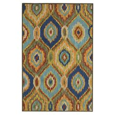Wool rug with a multicolor ikat diamond motif. Handcrafted in India.  Product: RugConstruction Material: 100% Vi...