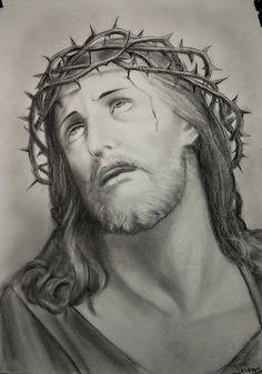 Jesus drawing custom jesus christ charcoal portrait christian art baptism gift picture of Jesus Christ Drawing, Jesus Drawings, Jesus Christ Images, Jesus Art, Tattoo Drawings, Jesus Tattoo, Christ Tattoo, Religious Tattoos, Religious Art