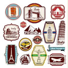 Vintage Travel Suitcase Stickers Set Of 15 Luggage Decal Labels cakepins.com
