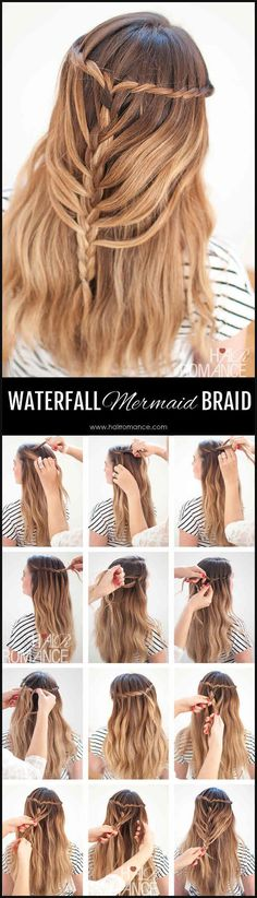 Waterfall Mermaid Braid Tutorial for Long Hair Dream hair alert! This waterfall mermaid braid tutorial is perfect for long hair. Wedding Hairstyles Tutorial, Braided Hairstyles Tutorials, Wedding Hairstyles For Long Hair, Try New Hairstyles, Pretty Hairstyles, Diy Tresses, Mermaid Braid Tutorials, Waterfall Braid Tutorial, Waterfall Braids