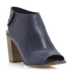 dune ladies navy leather high vamp stacked heel sandal, dune shoes online