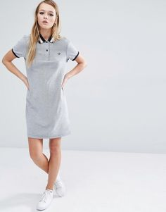 Fred Perry | Fred Perry Stripe Collar Polo Dress at ASOS